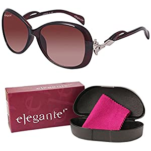 Elegante UV Protected Brown Oversized Sunglasses for Girls and Women