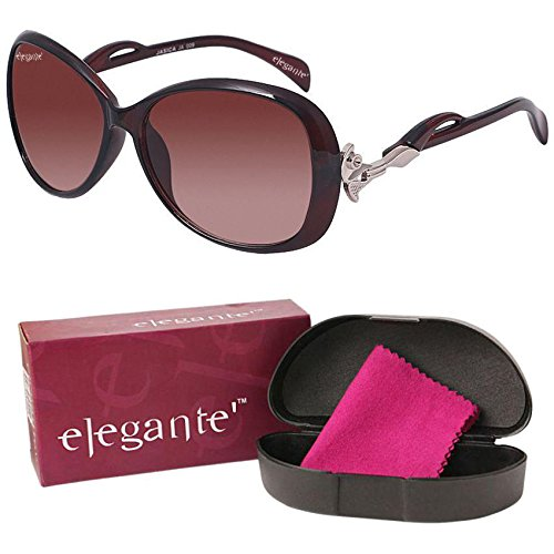 Elegante UV Protected Brown Oversized Sunglasses for Girls and Women
