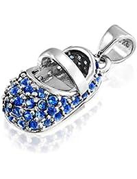 Bling Jewelry simulado bebé Zafiro Colgante Plata Esterlina Zapata