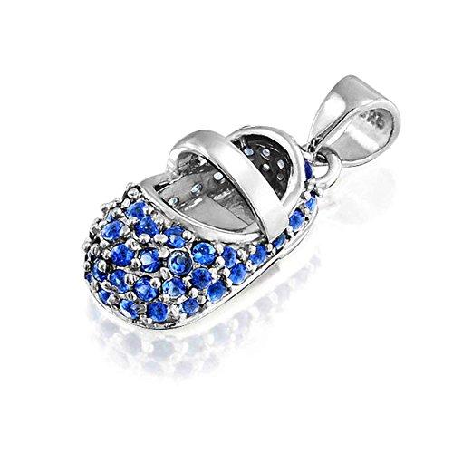 Bling Jewelry Settembre Birthstone pattino di bambino Ciondolo Sapphire Colore CZ Argento