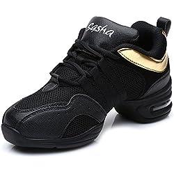 HIPPOSEUS Zapatos Modernos de La Danza del Jazz/Zapatillas de Deporte/Zapatos Elegantes de La Danza Para Las Señoras de Las Mujeres,ESB55A,Negro+Oro,EU 38