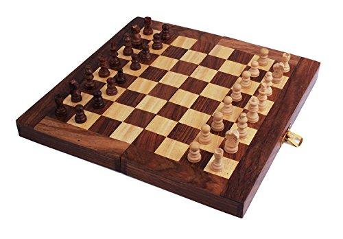 e, Holz Schachspiel faltbares kühles Schach Brettspiel Kasten Schachbrett mit Speicher für Stück-tragbare Reise freundlich für Kinder Erwachsene (Happy Halloween-angebote Für Kinder)