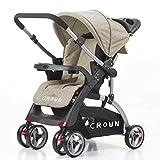 Best Dual Strollers - Crown ST530 Buggy Stroller Dual-Way Brown Review