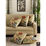 "Romee Multicolor Polyester Jute Fabric Painterly Print Cushion Cover 16"" x 16"" (Set of 5)"