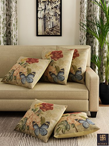 Romee Multicolor Polyester Jute Fabric Painterly Print Cushion Cover 16