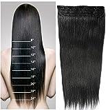 Extension a Clip Cheveux Naturel Monobande Une Pièce Rajout 100% Cheveux Humain Vrai Cheveux #01 Noir - 40CM(80g)