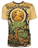 Weed Herren T-Shirt - Traumwelten Psychedelic Art Kunst Zauber-Pilze Kiffender Frosch Goa (Gelb XL)