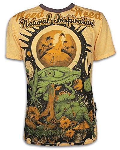 Weed Herren T-Shirt - Traumwelten Psychedelic Art Kunst Zauber-Pilze Kiffender Frosch Goa (Gelb M)