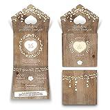 40 x Lasergeschnittene Hochzeit Einladungskarten Einladung - Holz Lichtgirlande