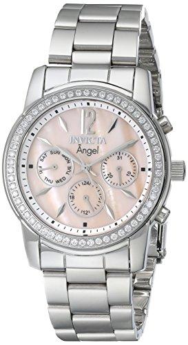 Invicta watch – Reloj cronógrafo de cuarzo para mujer con correa de acero inoxidable, color plateado