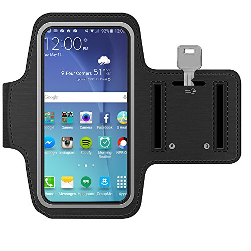 MMOBIEL Brazalete/Pulsera Deportiva para Samsung Galaxy S8 S7 S6 S6 Edge S5 S4 A3 Series 5.0 (Negra) Resistente al Agua. Hecho de Suave Neopreno Ultra Ligero Tira reflejante