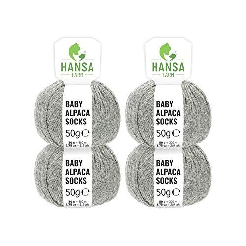 Baby Alpakawolle in 50+ Farben (kratzfrei) - 200g Set (4 x 50g) Weiche Alpaka Wolle Für Socken zum Stricken & Häkeln In 6 Garnstärken by Hansa-Farm - Hellgrau (Grau) -