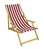 Erst-Holz Liegestuhl Rot-weiß Gartenliege Sonnenliege Strandstuhl Klappstuhl Deckchair Buche Natur 10-314 N