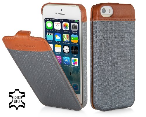 StilGut UltraSlim Case, Fashion-Serie, Tasche für Apple iPhone 5, 5s & iPhone SE, Storm Grey Kunststoff/ Cognac Storm grey Kunststoff/ cognac