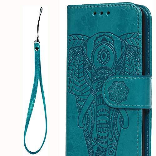 S9 Flip Handy Schutzhülle für Samsung Galaxy S9 PU Leder Klapphülle (Blau Totem Elefanten), 2 in 1 Abnehmbare Karten Etui Handschlaufe Brieftasche Stoßfest Magnet TPU Bumper Cover Prägung Design -