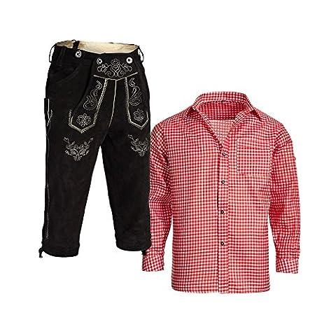 Herren Set Lederhose Schwarz und Trachtenhemd Rot Weiß Kariert Gr. Hose 46 Hemd S