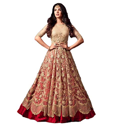 Monika Silk Mill Women\'s Latest New Beige & Red Net Embroidered Bridal wear Festival Collection Wedding Collection Party wear Traditional pant Style Anarkali Salwar Suit Dress materials