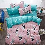 Diseño de oso panda niños/adultos juego de ropa de cama 4piezas/set one funda de edredón sin edredón una sábana de dos fundas de almohada doble Full Queen Tamaño, algodón, Pandaa, Pink, Full(71'x86')