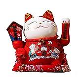 Maneki Neko Winkekatze Glückskatze Glücksbringer Winkende Katze aus Porzellan,Rot L26*W19*H23cm, 2