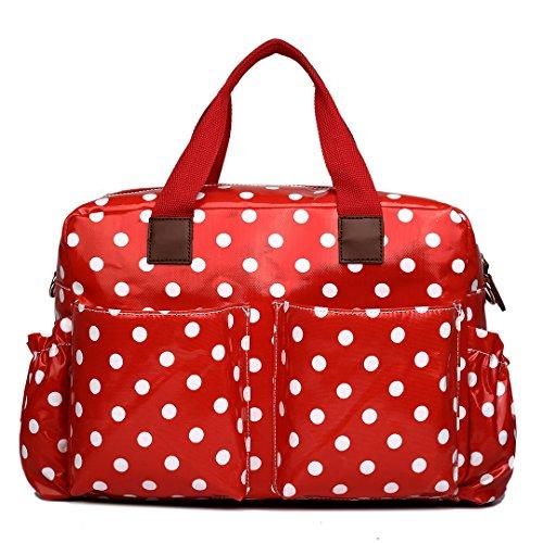 Miss Lulu Mama Nappy Set sac à langer - - rot mit punkten,