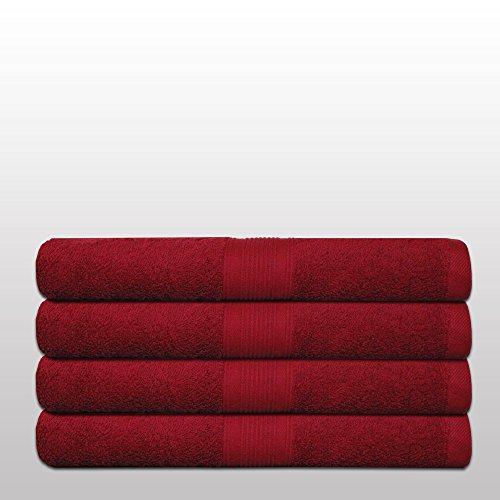 Klassisches Frottier-Set - Qualität 500 g/m² - alle Größen und Farben - 100% Baumwolle - 4 Set Varianten - 4er Pack Handtücher (50 x 100 cm) - bordeaux / weinrot