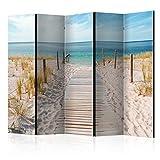 murando - Raumteiler - Foto Paravent Strand am Meer 225x172 cm - beidseitig auf Vlies-Leinwand bedruckt - Blickdicht & Textile Haptik - Trennwand - Spanische Wand - Sichtschutz - Raumtrenner - Deko - Design - Natur Landschaft c-B-0362-z-c