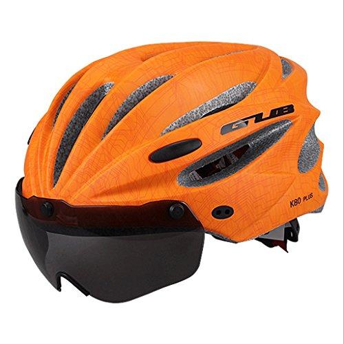 DGF Casque de vélo avec des lunettes Casque de sport d'équitation monobloc Casque de casque de style casque avec casque (Couleur : Orange)