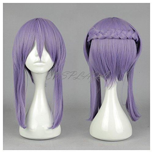 splay Wig Seraph of the End Shinoa Hiragi Volett Braided Karneval Party Haar ()