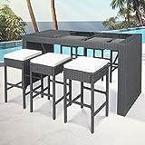 Miadomodo – Conjunto de muebles de poliratán para jardín – 6 taburetes y 1 mesa de bar con cojines – colores a elegir
