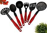 Lantelme 4789 6 Pièces-ustensiles de cuisine en plastique noir/rouge résistant à la chaleur jusqu'à 260°c avec spatule cuillère à spaghetti et une cuillère de service-purée louche ecumoire. passe au lave-vaisselle