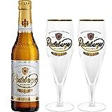 Radeberger Premium Pils Bier 0,33l (4,8% Vol) + 2x Gläser Pokalgläser -[Enthält Sulfite]