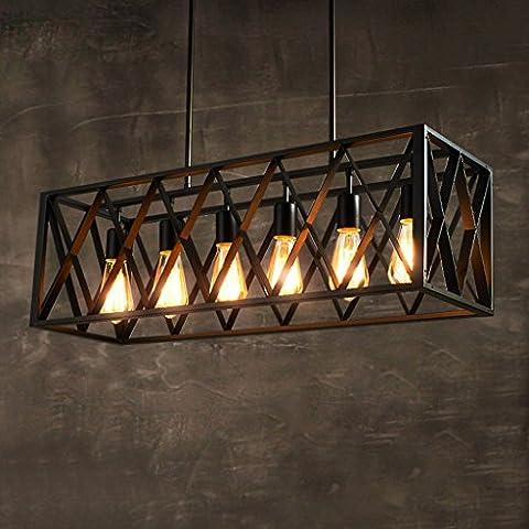 Lustres rétro industriel en acier inoxydable, carré de haute qualité, recouvert d'ombre carrée, lampe de plafond décorative, salon de salle de restaurant, loft Loft LED E27 Light (noir) ( Size : M )