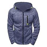 Herren kapuzenpullover, GJKK Herren kapuzenpullover Zipper Slim Hoodies Sweatshirts aus hochwertiger Baumwollmischung Outwear Mantel Jacke (Blau, L)