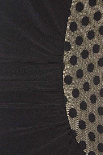 Roman Originals - Robe Femme A Pois Sans Manches Plissée Unie - Noir Noir