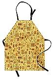 Afrikanische Schürze, Stammes-zufällige Kritzeleien-Muster-Fischgräten-eingeborene Kunst-Volksmerkmale, Unisexküchen-Latzschürze mit justierbarem Ansatz für das Kochen backende Gartenarbeit, braune Ri
