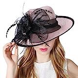 Koola's hats Damen 3 Schichten Sinamay Hochzeit Hüte Sonnenhut Ascot-Rennen Derby Hut Kirche-Hüte Partyhüte (Pink Schwarz)