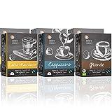 Barista Moments 6er Box Kaffeekapseln – 96 Dolce Gusto kompatible Kapseln in 3 erlesenen Sorten: Grande, Cappuccino und Latte Macchiato | Fairtrade (6 x 16 Kapseln)