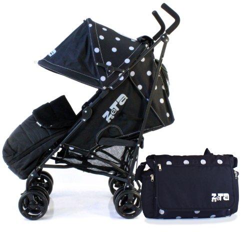ZETA VOOOM - Black (Dots) + MC Footmuff + Changing Bag (Includes Changing Mat) + Raincover