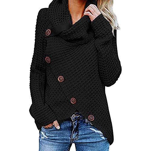 iHENGH Damen Herbst Winter Übergangs Warm Bequem Slim Mantel Lässig Stilvoll Frauen Langarm Solid Sweatshirt Pullover Tops Bluse Shirt (3XL, Schwarz-1)