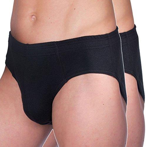 2-pack Slip Farbe (HERMKO 68300 2er Pack Herren Funktions Slip ohne Eingriff mit Dehnbund, atmungsaktiv und schnelltrocknend, Farbe:schwarz, Größe:D 7 = EU XL)
