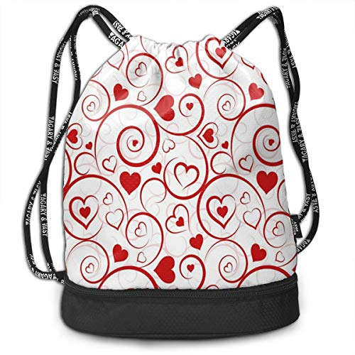 MLNHY Printed Drawstring Backpacks Bags,Love and Adoration Themed Vivid Colored Swirls Vortexes and Hearts Abstract Romance,Adjustable String Closure -