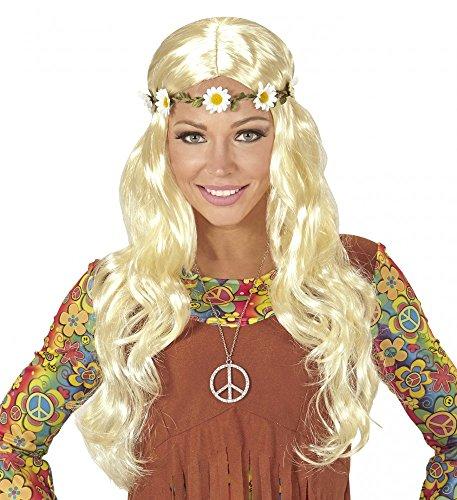 60er Jahre Flower Power Hippie Perücke mit Stirnband aus Blumen Blond ()