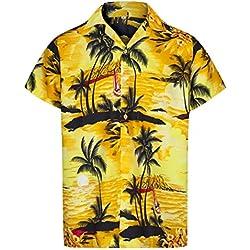 Redstar Fancy Dress - Camisa Hawaiana de Manga Corta - para Hombre - Aloha Verano - Todas Las Tallas - Amarillo - XL
