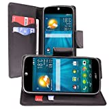 VCOMP® Acer Liquid Jade Z: Etui portefeuille cuir PU effet tissu Livre rabat support vidéo - NOIR