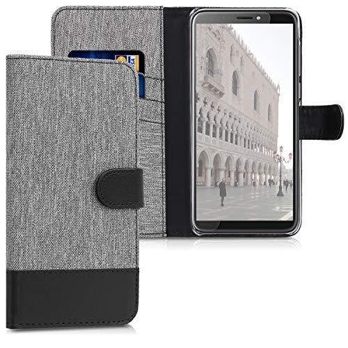 kwmobile HTC Desire 12+ Hülle - Kunstleder Wallet Case für HTC Desire 12+ mit Kartenfächern & Stand - Grau Schwarz