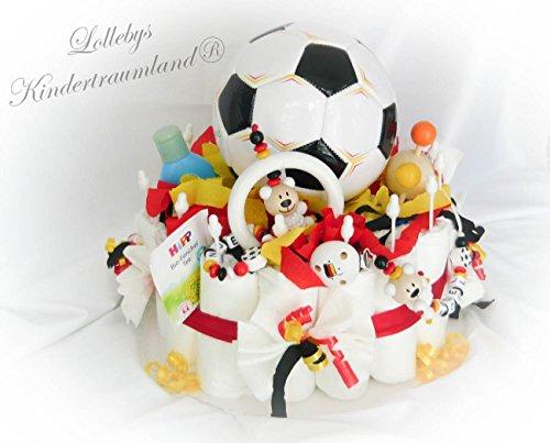 Gâteau de couches XXL-EM Football-Allemagne + Attache Sucette & greifling avec nom -, Baby Shower, naissance ou baptême + sur demande, cadeau gratuit Carte de vœux