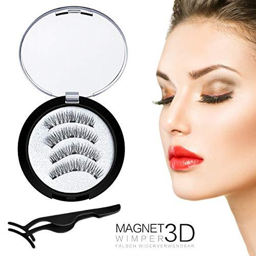 Falsche Magnetische Wimpern, Bluesialia 3D Künstliche Dicke Wimpern Wimpernverlängerung Makeup Wiederverwendbar Natürliche Dichte Fake Eyelasches 4 Stücke