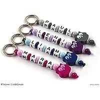 Schlüsselanhänger mit Gravur bzw Namen Kinder - Erwachsene - Taschenbaumler - Eule - Schlüsselring - GRATIS Versand - verschiedene Farben