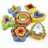Gloryelen Colorful Multi-Shape Plastic Mold Cookie Biscuit Cutter Mould Pastry Maker Tools