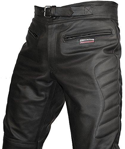 Skintan Herren Echtes Leder Motorradhose mit CE Protektoren Schwarz Schwarz